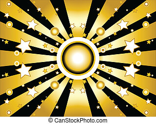 Golden Background Stars and Sun
