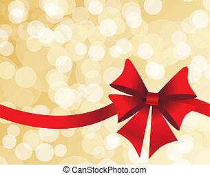 Golden background with a red bow