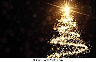 Golden background with Christmas tree. - Golden background...