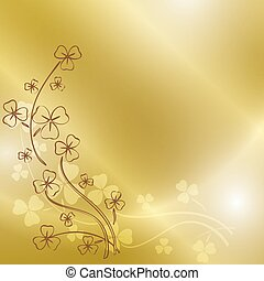 golden background with clover branches for st patrick's day - vector