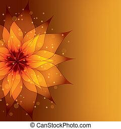 Golden background with decorative flower