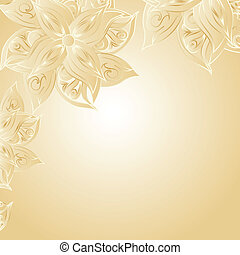 Golden background with floral ornament and space for your...