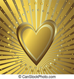 Golden background with heart