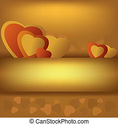 Golden background with hearts