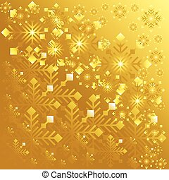 Golden background with lots of snowflakes