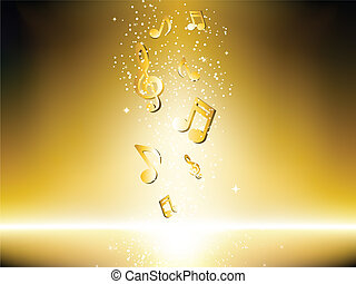 Golden background with music notes and stars. Editable ...
