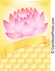 Golden background with pink lotos