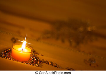 golden background with romantic candle light