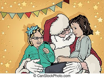 Golden Background with Santa Claus