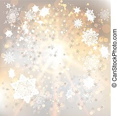 Golden background with snowflakes