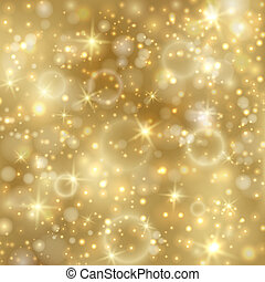 Golden background with stars and twinkly lights. EPS10