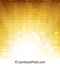 Golden Background With Sunburst And Stars With Gradient Mesh, Vector Illustration