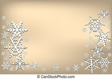 Golden background with white snowflakes