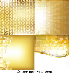 Golden Backgrounds Set With Stars
