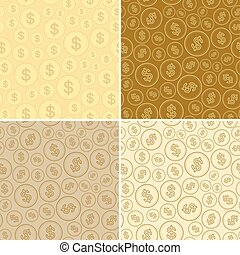 golden backgrounds with dollars - vector seamless patterns of coins