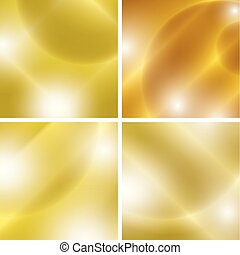 golden backgrounds with light abstractions - vector set
