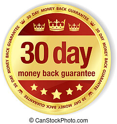 Golden badge with red fill and 30 day money back guarantee title
