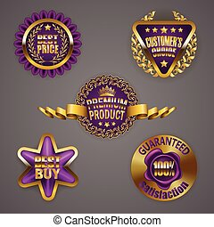 Golden badges with laurel wreath