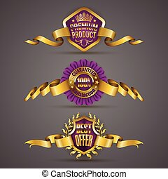 Set of luxury gold badges with laurel wreath, ribbons. 100 percent guaranteed, best offer, premium product. Promotion emblems, icons, labels, medal, blazons for web, page design. Vector illustration EPS 10.