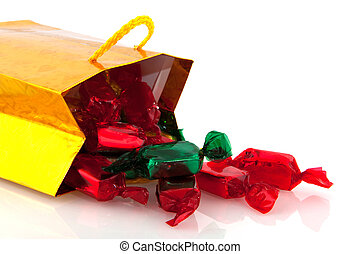 Golden bag with Christmas candy