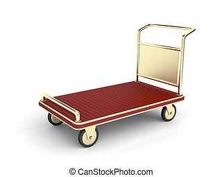 Golden baggage cart - Golden hotel baggage cart on white ...