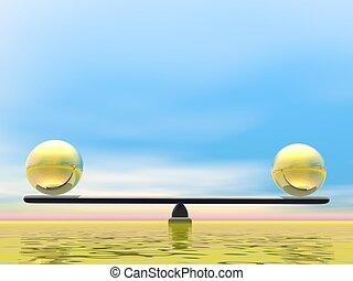 Golden balance - 3D render