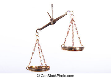 Golden Balance Scales - Unbalanced golden scales of justice,...
