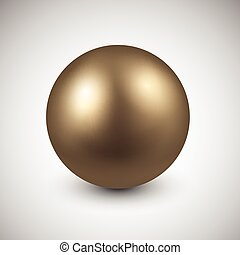 Golden ball. - 3d golden ball. Vector illustration.