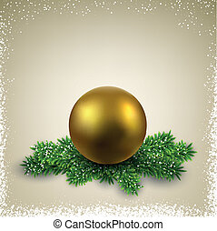 Golden ball on christmas eve branches.