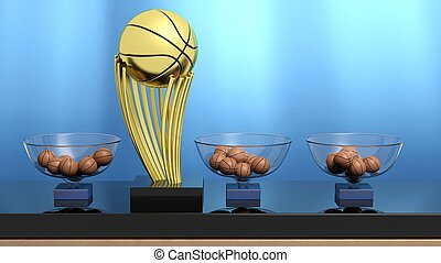 Golden ball trophy and lottery baskets with basketball balls.