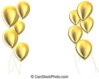 golden balloons - 3d rendered illustration of some golden...