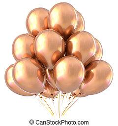 Golden balloons happy birthday party decoration yellow glossy