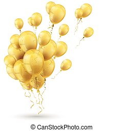 Golden Balloons Shadow White Cover - Golden balloons with...