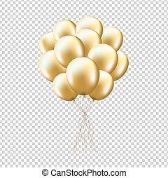 Golden Balloons Sheaf, Isolated on Transparent Background,...