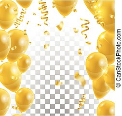 Golden balloons , vector Celebration background template