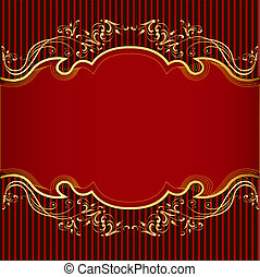 gold(en), bande, ornement, arrière-plan rouge