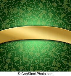 Golden banner on green background