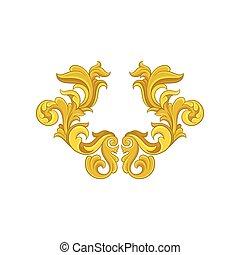 Golden baroque ornament. Luxurious pattern in antique style. Elegant floral arabesque. Decorative vector element