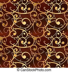 Golden baroque swirls on red, luxury seamless pattern
