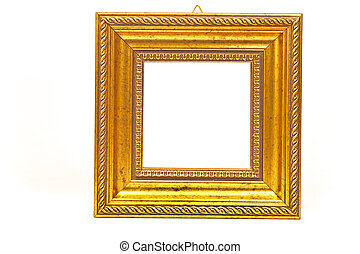 Golden barouque frame isolated on white