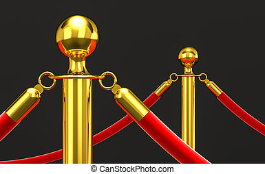 golden barrier and rope