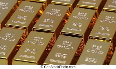 Golden bars as a background Financial concepts, full hd...