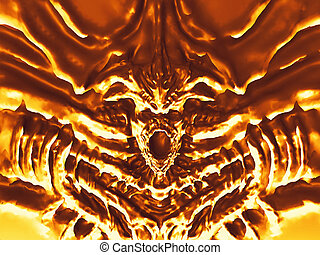 Golden bas-relief devil with horns. 3d illustration