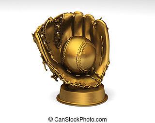 Golden baseball glove with a ball