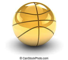 Golden Basket Ball - Golden basket ball isolated on a white...