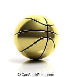 Golden basketball ball isolated on white background