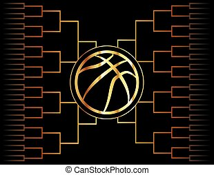 Golden Basketball Icon and Bracket