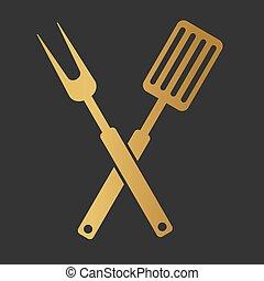 golden BBQ grill cutlery icon- vector illustration