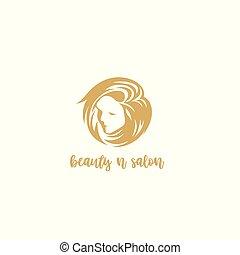 golden beauty and salon logo vector illustration.