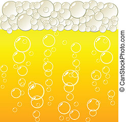 golden beer. - Golden beer and bubbles. Vector.